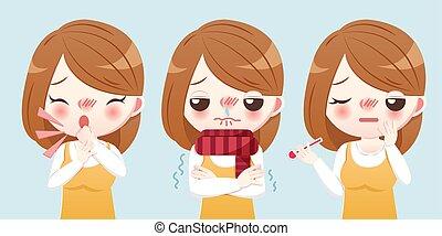 girl, dessin animé, malade