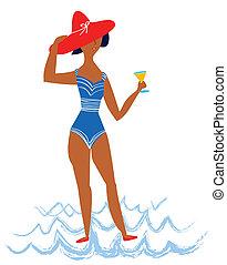 girl, dessin animé, plage, illustration