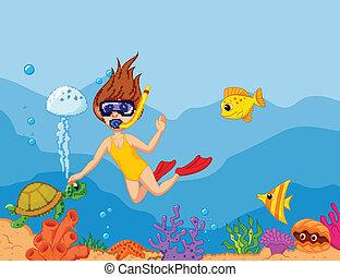 girl, dessin animé, snorkeling