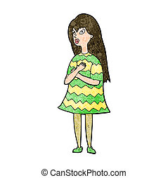 girl, dessin animé, surpris
