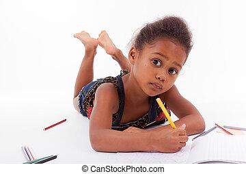 girl, dessin, peu, africaine, asiatique