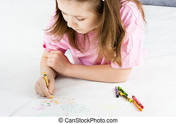 girl, dessine, mensonge, plancher