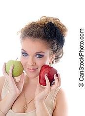 girl, deux, pommes