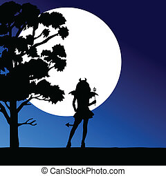 girl devil in the moonlight vector illustration