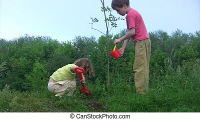 girl digging, boy watering young plant