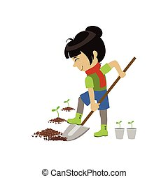 Girl Digging The Ground