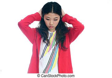 girl, disbelieve, asiatique, malheureux, triste