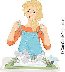 Girl Dish Washer Putting Apron On