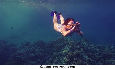 Girl dive in Red sea near coral reef with wish, underwater...