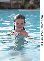 girl, dix, piscine, années