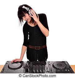 girl dj play music on turntables