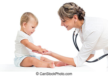 girl, docteur, isolé, enfant, examiner, blanc