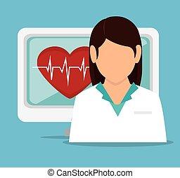 girl doctor computer pulse heart vector illustration eps 10
