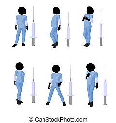 Girl Doctor Illustration Silhouette - Girl doctor next to a...