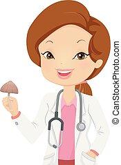 Girl Doctor Psychedelic Mushroom Illustration