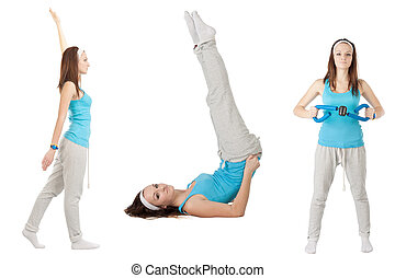 girl does exercises