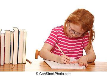 Girl does her homework