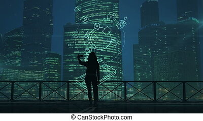 Girl does selfie on a background of skyscrapers and social media infographics