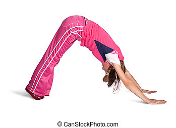 girl doing aerobics over white background - girl in pink...