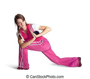 girl doing aerobics - Young girl in pink sportswear...