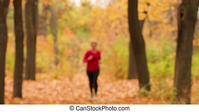 Girl doing cardio in the autumn forest of a city park. Attractive woman athlete wearing stylish sport clothing and grey sneakers.