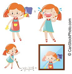 Girl doing different actions illustration