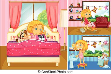 Girl doing different activities at home