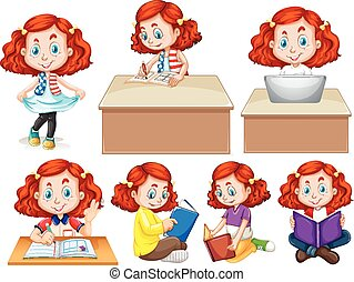 Girl doing different activities illustration