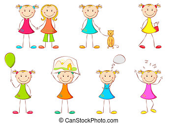 Girl doing different Activities - illustration of girl kid...