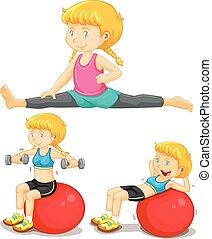 Girl doing exercise with big ball