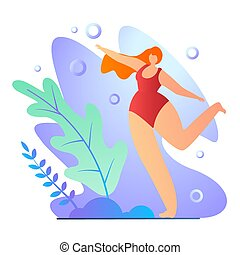 Girl Doing Exercises in Bathing Suit Cartoon Flat. Poster ...
