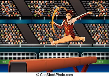 Girl Doing Gymnastic with Hoop in the Competition
