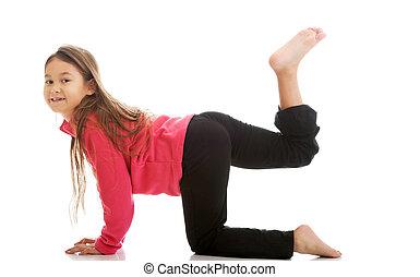 Girl doing gymnastics exercise