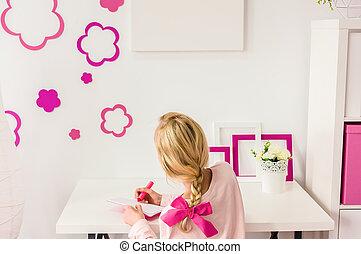 Girl doing her homework
