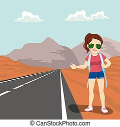 Girl Doing Hitchhiking