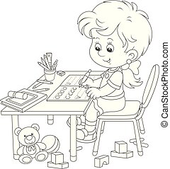 Girl doing homework after her game with toys