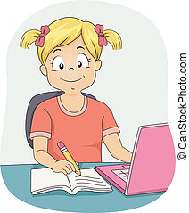Illustration Featuring a Little Girl Using Her Laptop While Working on Her Assignment