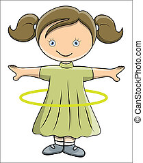 Drawing Art of Cute Lovely Kid Girl Playing and Doing Hula Hoop Vector Illustration