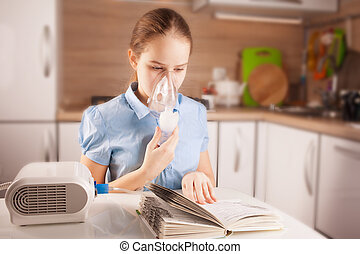 Girl doing inhalation and reading book - Cute girl doing...