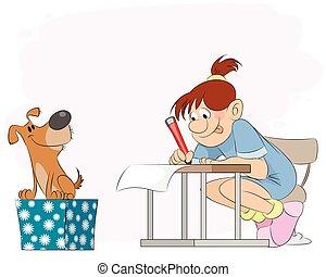 Girl doing lessons