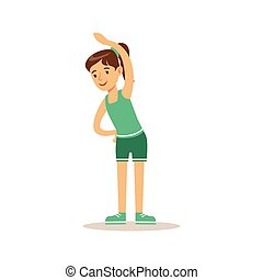 Girl Doing Stretching Exercise, Kid Practicing Different ...