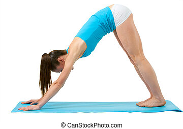 Girl doing stretching exercise.