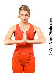 Girl doing yoga exercise
