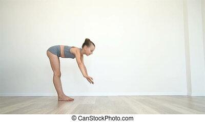 Girl Doing Yoga Exercises