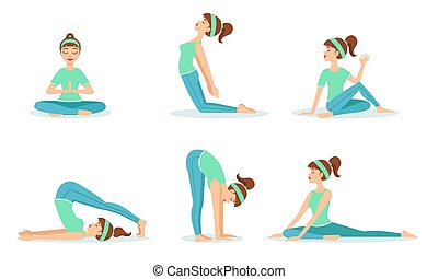 Girl Doing Yoga in Different Poses Set, Young Woman Performing Physical Exercises Vector Illustration