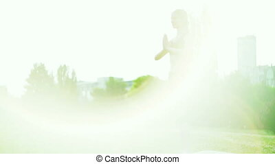 Girl doing yoga mist park. Morning sunlight salute sun pose...