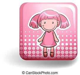 Girl doll on pink badge
