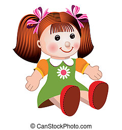 Girl doll sitting in colorful dress on white background