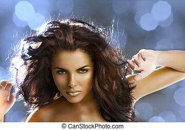 girl, doré, cheveux vol