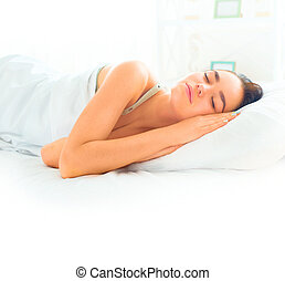 girl, dormir, beauté, brunette, elle, confortable, lit